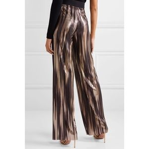 alice + olivia elba pleated lamé wide-leg pants